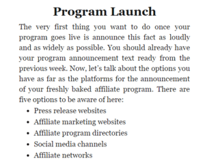 Program launch announcement options
