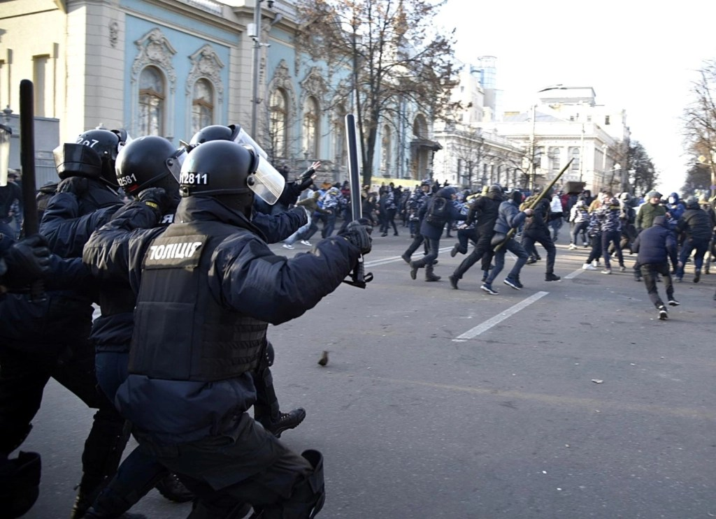 Clashes between police and protesters at the parliament building in Kyiv, Ukraine