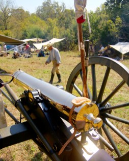 Ben Kleppinger/ben.kleppinger@amnews.com A cannon sits Thursday on the edge of what will be a Confederate camp during reenactments at Perryville Battlefield this weekend.