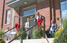 Kendra Peek/kendra.peek@amnews.com Boyle County Judge executive Harold McKinney speaks to those gathered at the grand opening of the Goodall Apartments on Friday.