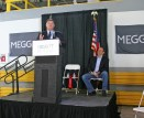 Kendra Peek/kendra.peek@amnews.com H Luke Durudogan, president of Meggitt Aircraft Braking Systems, speaks to employees and officials at the $9.3 million expansion project.