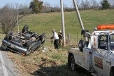 Kendra Peek/kendra.peek@amnews.com The vehicle had to be flipped back over to be transported away from the scene on Ky. 52.