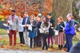 Photos by Ben Kleppinger/ben.kleppinger@amnews.com Members of the Centre College community gather for a post-election prayer vigil at the labyrinth memorial Tuesday afternoon.