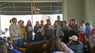 Photo submitted Centre students sing at the Hub Coffee Shop and Cafe during the Holiday Open House on Saturday.