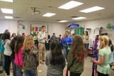 Kendra Peek/kendra.peek@amnews.com Conner Kinman and Destiny Carter teach students to play at Hogsett Elementary School.