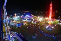 The Boyle County Fairgrounds are seen from atop the ferris wheel Wednesday night.