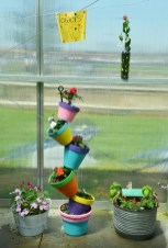Unique potted plants and flowers, created by BCHS students, are for sale at the greenhouse.
