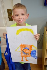 Colwyn Reardon was particularly proud of his super hero self portrait.