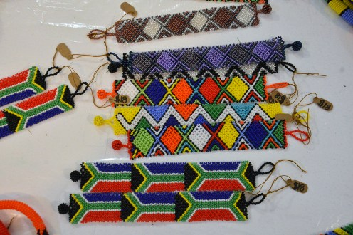 Glass beaded bracelets woven in South Africa are among the items Woodward has recieved.