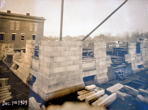 This is one of several old photos that shows what construction of the federal building looked like in December, 1909.
