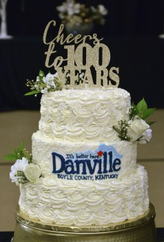 A special birthday cake celebrating the Danville Boyle County Chamber of Commerce's 100th birthday is on display during the dinner and awards ceremony.