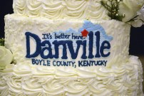 A special birthday cake celebrating the Danville Boyle County Chamber of Commerce's 100th birthday is on display during the dinner and awards ceremony. Photo by Robin Hart.