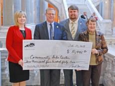 Pictured from left: Regina Stivers, Kentucky Tourism, Arts and Heritage Cabinet deputy secretary; Sen. Rick Girdler; Chris Cathers, Kentucky Arts Council executive director; and Sallie Lanham, arts council board member.
