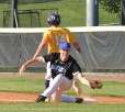 Ethan Wood makes a catch at first to get the runner out. Photo by Robin Hart