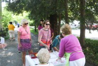 Guests line up to sign in during the garden tour in Danville on Saturday. (Photos by John Scarpa.)