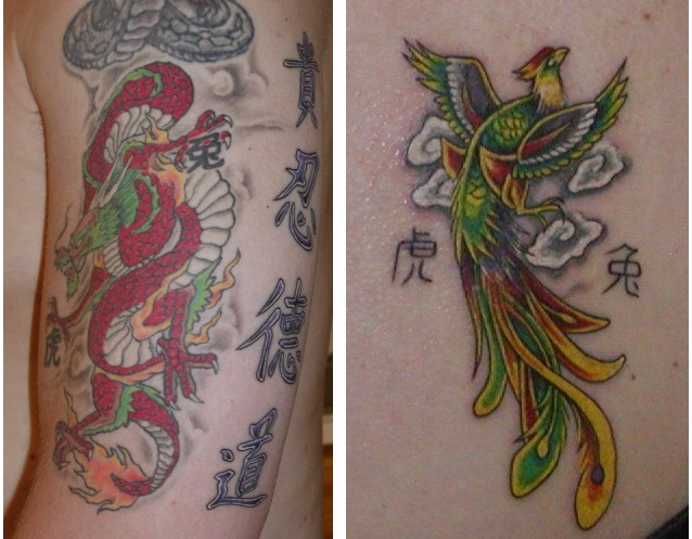 phoenix tattoo on lower back