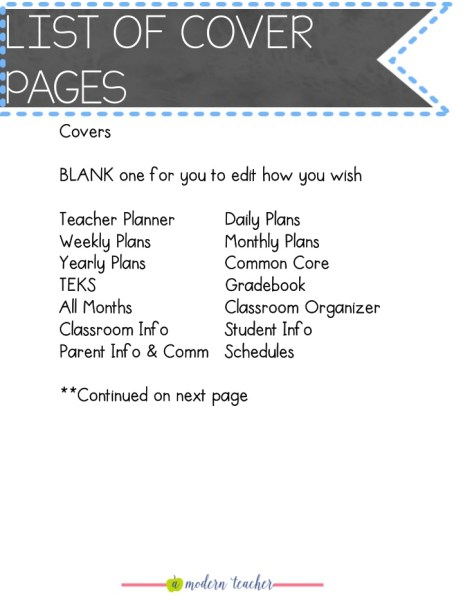 teacher planner teacher binder cover pages a modern teacher