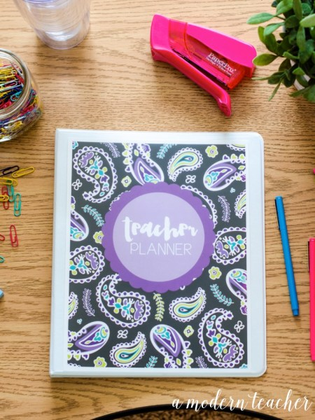 a modern teacher planner purple paisley