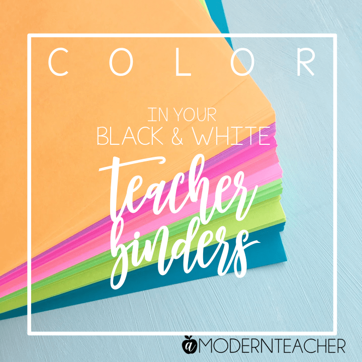 Color in Your Teacher Binder