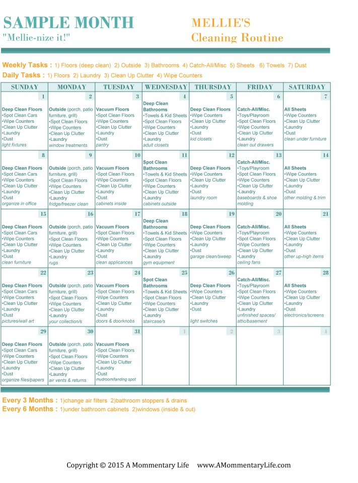 Monthly Cleaning Calendar