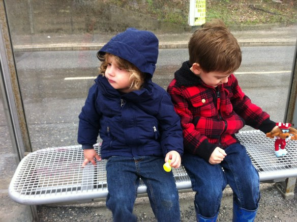 Here they are, waiting for the tram. So sweet!