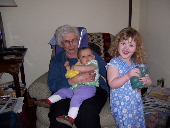 Grandma Straley with Cordy and Mira