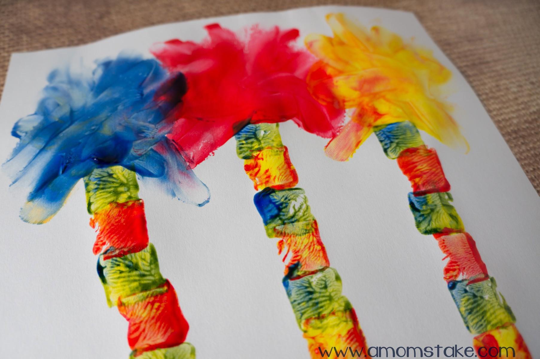 Lorax Trees Finger Painting Art