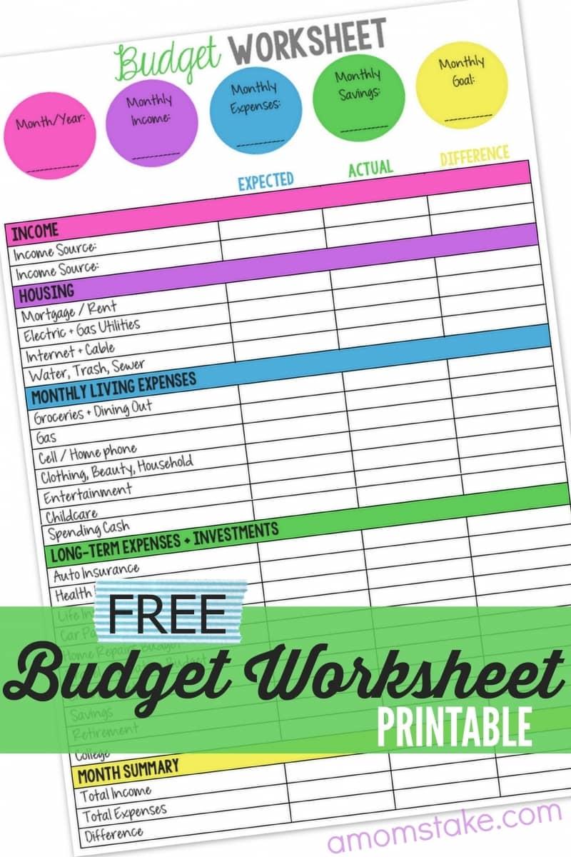 family expenses worksheet