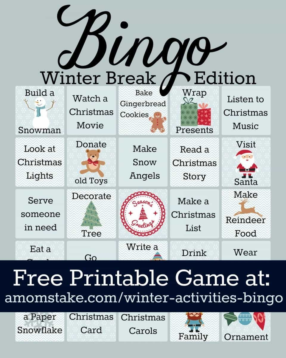 Winter Activities Bingo Game Printable A Moms Take