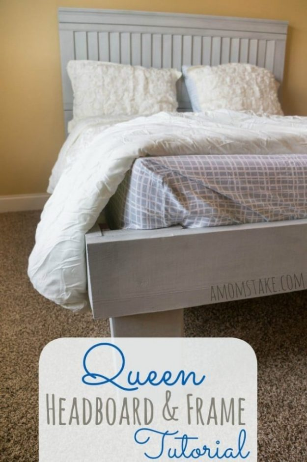 diy queen headboard and frame tutorial - a mom's take