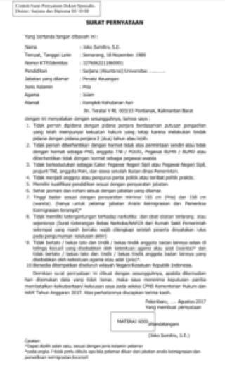 Format Lamaran dan Kelengkapan Syarat CPNS Kemenkumham 2017