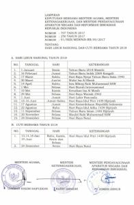 Informasi Resmi Hari Libur Nasional dan Cuti Bersama Tahun 2018