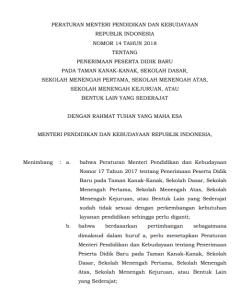 Petunjuk Teknis PPDB Kemdikbud Jenjang TK SD SMP SMA SMK 2018
