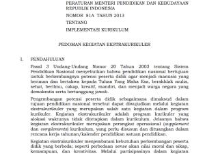 Permendikbud Nomor 81A Tahun 2013 tentang Pedoman Kegiatan Ekstrakurikuler