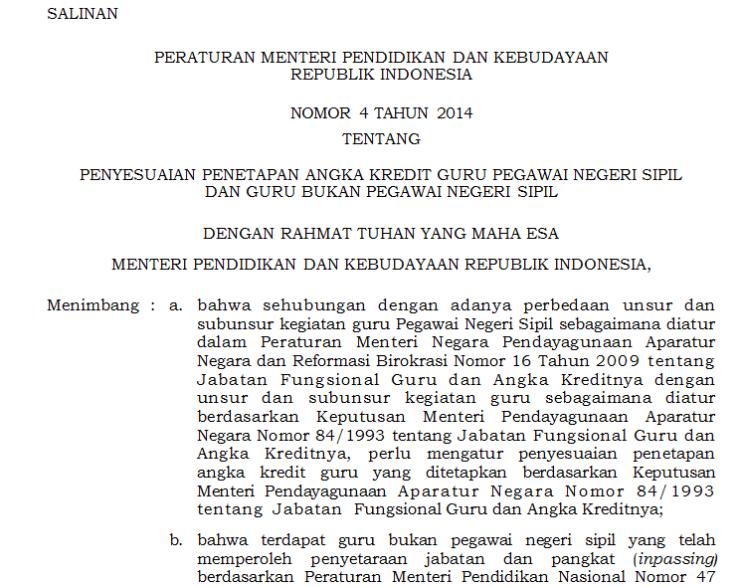 Download Permendikbud Nomor 4 Tahun 2014 tentang Penetapan Angka Kredit