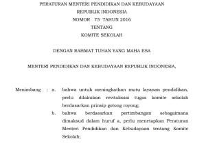 Download Permendikbud Nomor 75 Tahun 2016 tentang Komite Sekolah