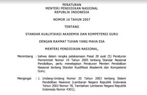 Permendiknas Nomor 16/2017 tentang Kualifikasi Akademik dan Kompetensi Guru