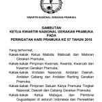 Sambutan Ketua Kwarnas Gerakan Pramuka Pada HUT Pramuka ke 57 Tahun 2018