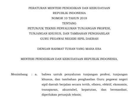 Permendikbud Nomor 10 Tahun 2018 : Kriteria Penerima dan Penyaluran Tunjangan Khusus