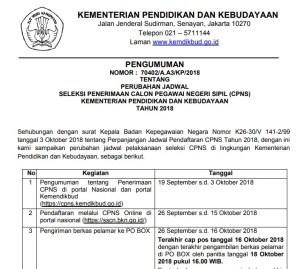 Pengumuman Perubahan Jadwal Pelaksanaan Seleksi CPNS Kemendikbud 2018