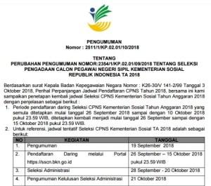 Pengumuman Perubahan Jadwal Pelaksanaan Seleksi CPNS Kemensos 2018