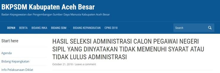 Jadwal dan Lokasi Tes Kompetensi Dasar CPNS Kabupaten Aceh Besar Tahun 2018