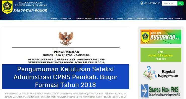 Jadwal dan Lokasi Tes Kompetensi Dasar CPNS Kabupaten Bogor Tahun 2018