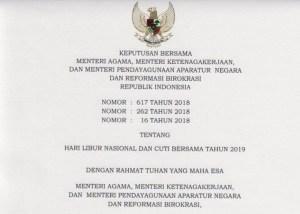 Informasi Resmi Hari Libur Nasional dan Cuti Bersama Tahun 2019