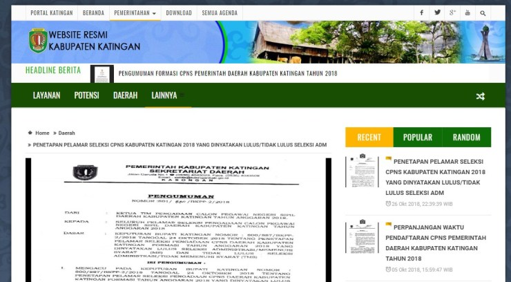 Jadwal dan Lokasi Tes Kompetensi Dasar CPNS Kabupaten Katingan Tahun 2018