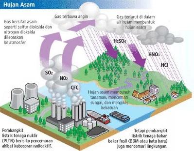 Sebutkan pengertian hujan asam dan jelaskan proses terjadinya!