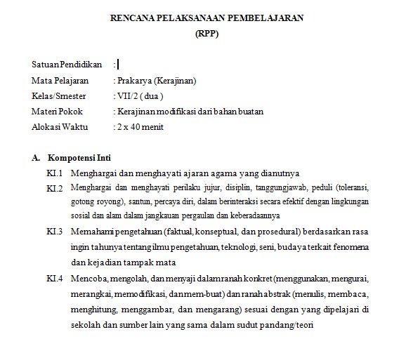 Download Silabus Dan Rpp Prakarya Kelas 7 Smp Kurikulum 2013 K13