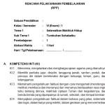Download RPP Kelas 6 SD Kurikulum 2013 Edisi Revisi 2018 Semester 1