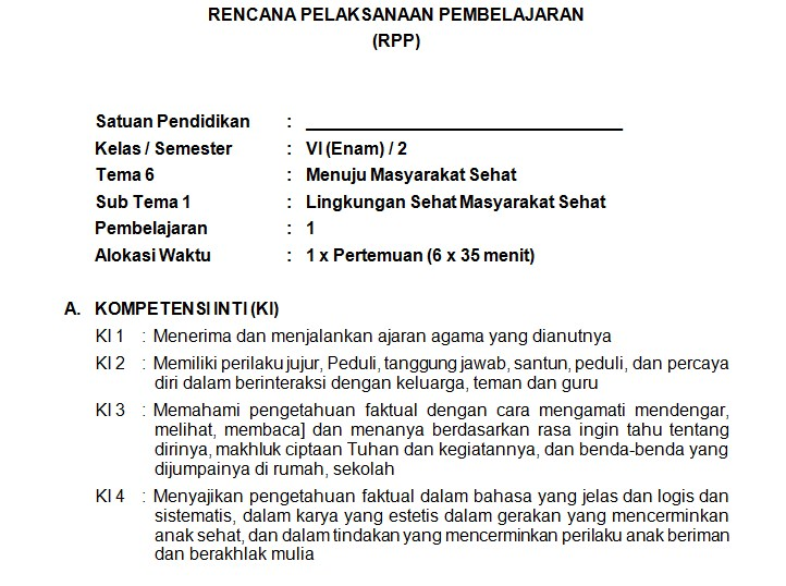 Download Rpp Kelas 6 Sd Kurikulum 2013 Edisi Revisi 2018 Semester 2