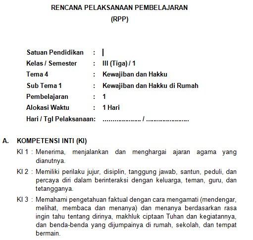 Download Rpp Kelas 3 Sd Kurikulum 2013 Edisi Revisi 2018 Tema 4